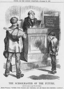 'The Schoolmaster of the Future', 1887. The British workman has come into school to take the boy away in order to teach him a trade that will be more useful to him in life than Trigonometry or Geology. This cartoon accompanies a poem of the same name in which Punch puts forward the view that an artisan of the future must needs learn a craft and develop skills that will stand him in good stead. It is not that book-learning is bad for a boy, but 'if a man's lot is to trudge, it is small use fitting him with wings'. From Punch, or the London Charivari, November 19, 1887.